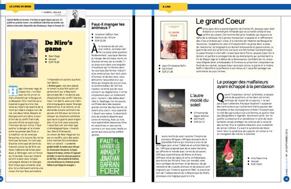 Chronique litteraire dans Le Mag du mois d'Octobre